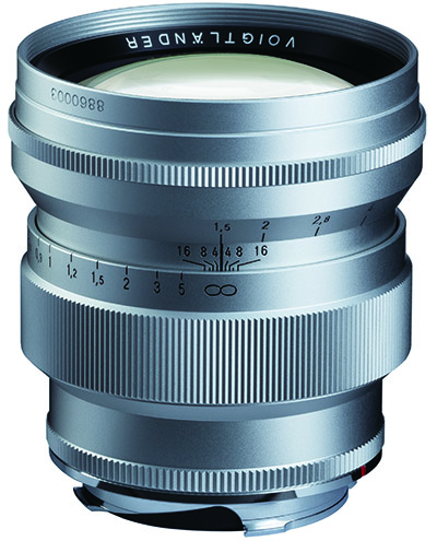 Voigtlander 75mm f1.5 Nokton ASPHERICAL vintage line in silver for Leica M mount